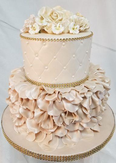 Taupe ruffle cake
