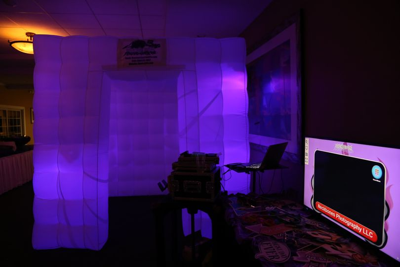 Enclosed Photo booth, not shown is the optional curtain for privacy which can be applied to one of...