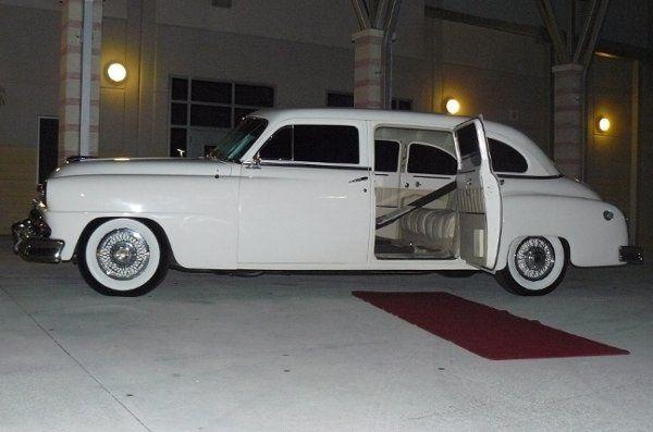 white vintage de Soto stretch Limousine