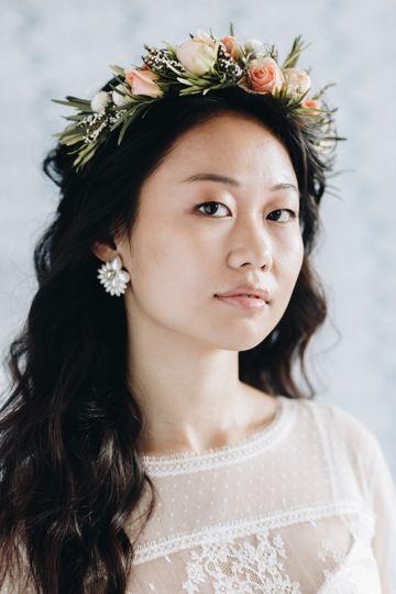 Bohemian curls and flower crown