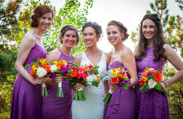 Bride and bridesmaids in purple - Wise Artistry