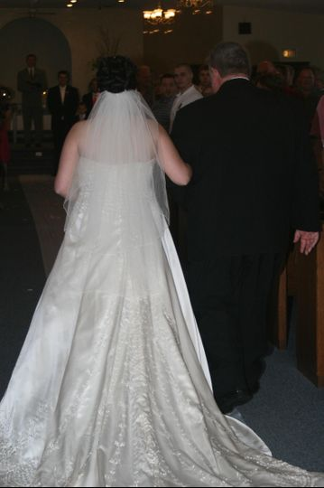 Bride going down the aisle