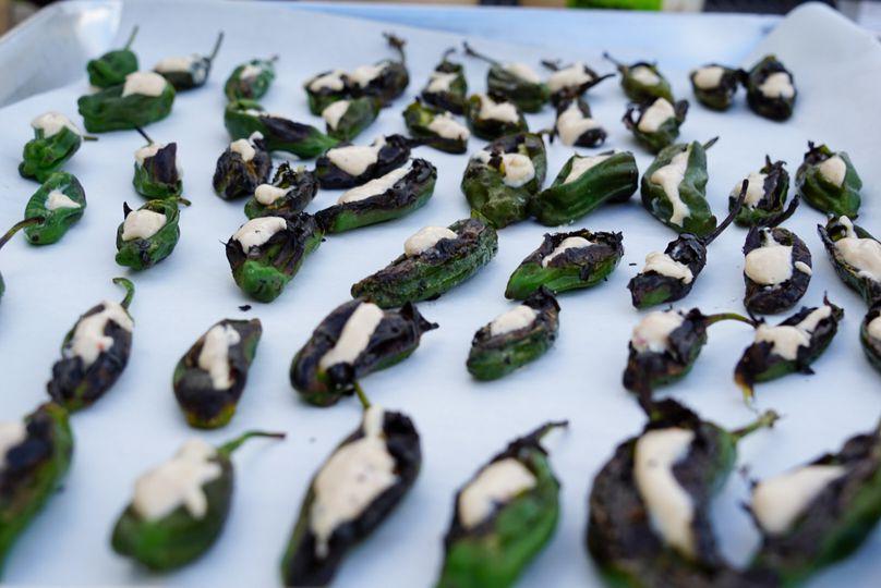 Charred shishito peppers smoke