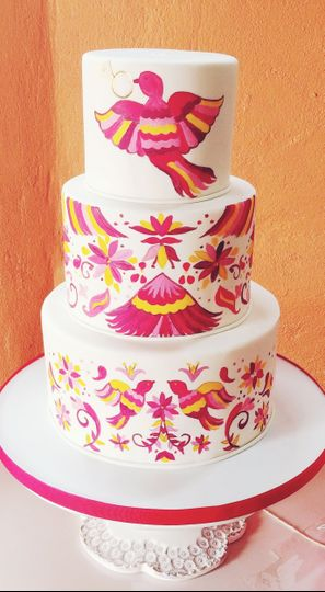 Mexican folk art fondant cake