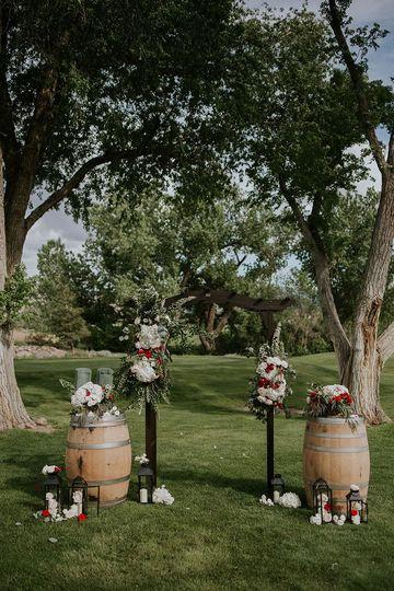 Floral decor on barrels