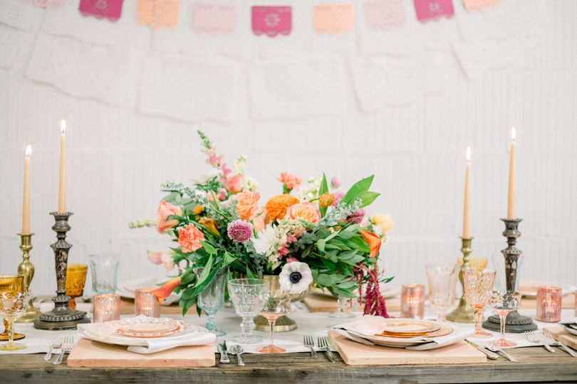 Floral centerpiece for reception table