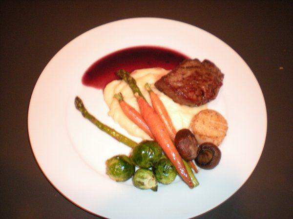 Roasted Buffalo Tenderloin, Garlic Mash & Winter Vegetables
