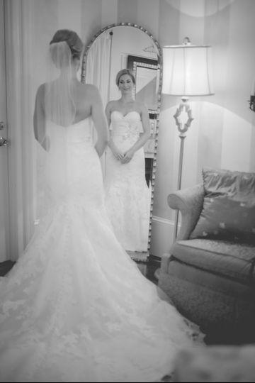 bride in new mirror
