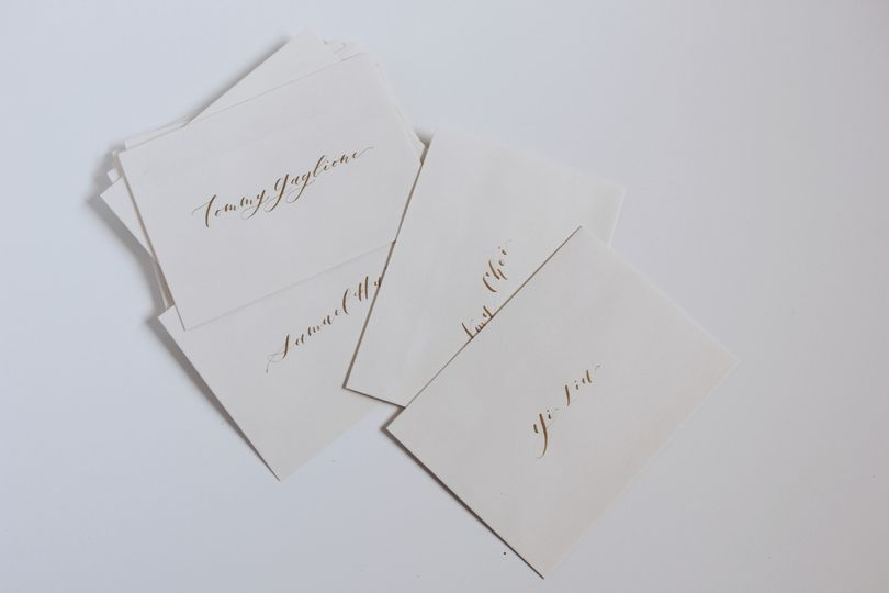 Gold on ivory envelopes
