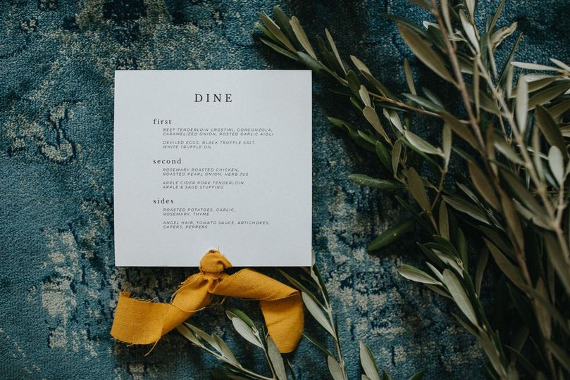 Menu with Mustard Ribbon