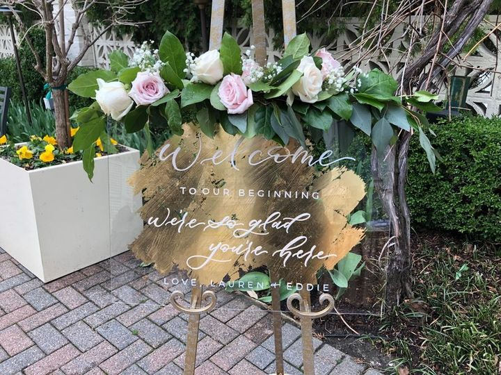 Gold leaf acrylic welcome sign