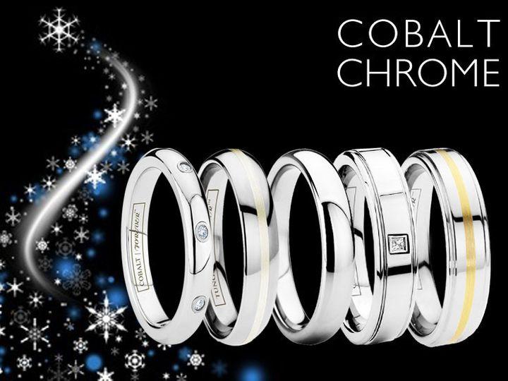 Tmx 1418255684140 Cobaltchromeringssnowflakes Brea wedding jewelry