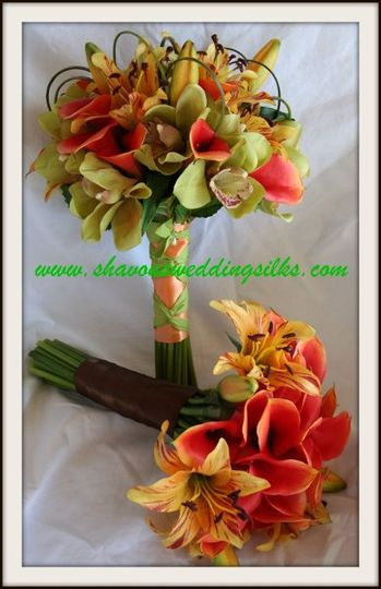 natural touch mini orange calla lilies mango oriental lilies chocolate ribbon green cymbidium...
