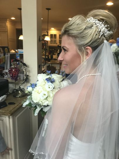 Profile shot of bride in her veil