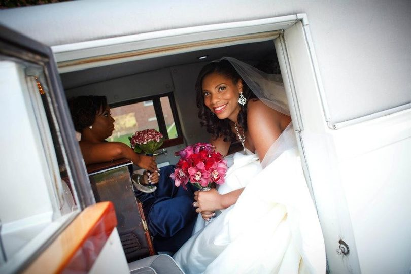Bride in the car