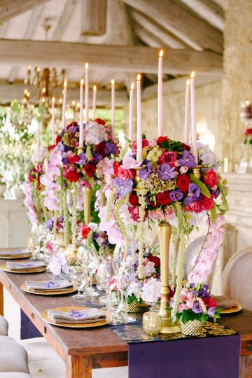 Purple Red and Gold Table
