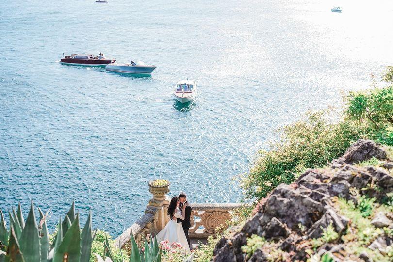 Newlyweds at Lake Como