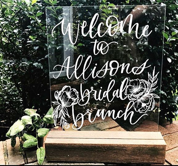 Glass bridal brunch sign