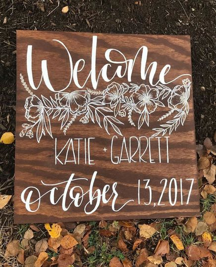 Welcome wood sign with florals