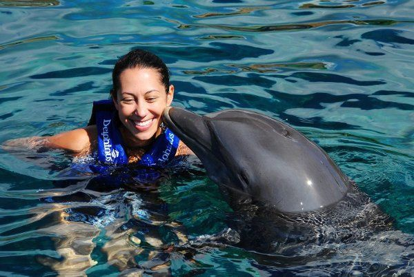 Swimming with the dolphins in Mexico.
