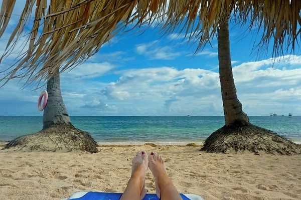 Relaxing on the beach in Punta Cana.
