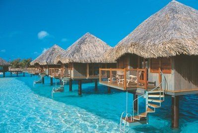 Over water bungalow in Tahiti