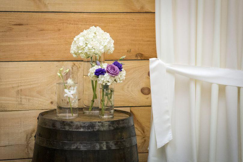 Flowers and barrels