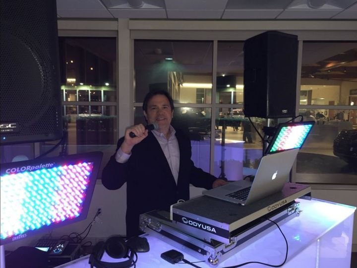 Wedding dj in the booth