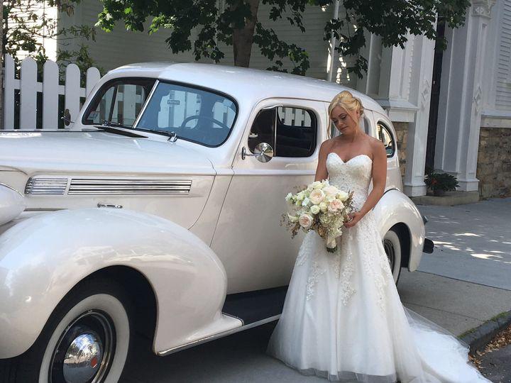 Bride beside the classic car