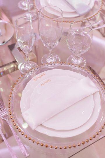 Bridal suite table setup