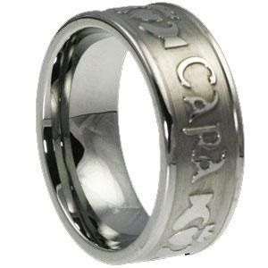 Mo Anam Cara Tungsten Carved Ring