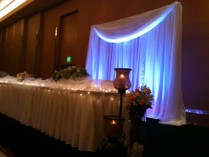 one section of white draping and valence with white uplighting 2