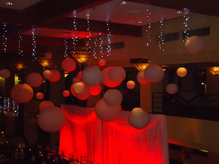 hanging white paper lanterns with led light strands interspersed between