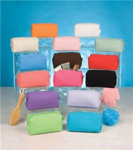 large cotton waffle cosmetic bag colors 9 x 7x 3 7
