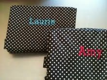 monogrammed polka dot cosmetic case