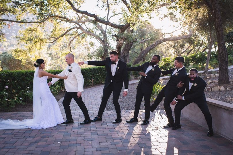 Funny wedding party portrait
