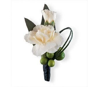 White Mini Carnations and Green Hypericum Berries. Perfect for Prom!
