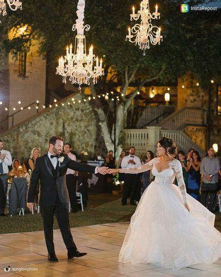 Dancing under the chandeliers