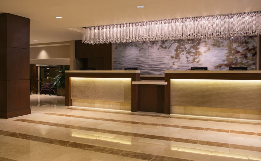 Contemporary hotel lobby