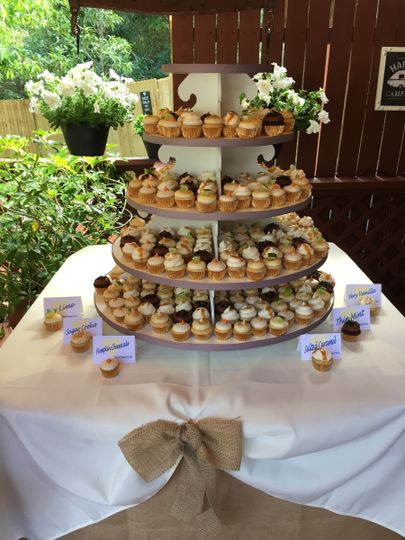 Outdoor cupcake table