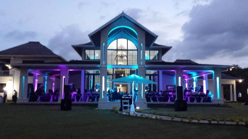 purple and aqua lighting