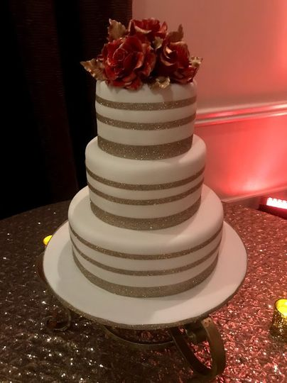 Gold Band Wedding Cake