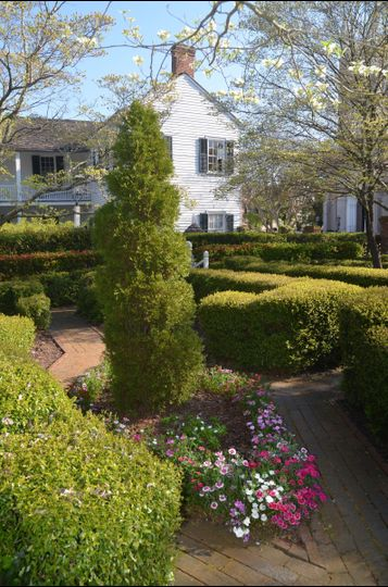 The Parterre Garden is one of seven distinct areas in the gardens of the Burgwin-Wright House.