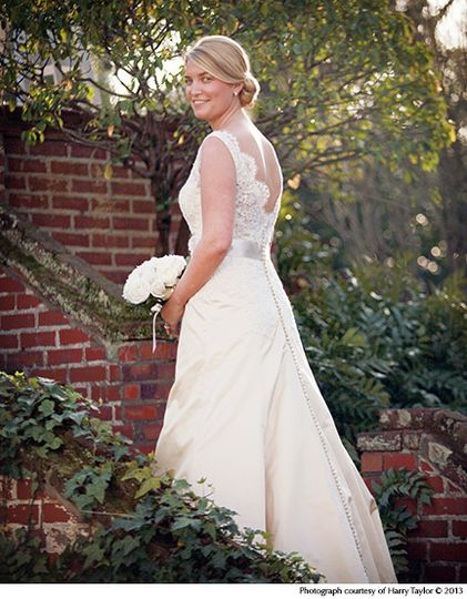 This beautiful bride posed for a portrait on one of the terraces of the Burgwin-Wright House...