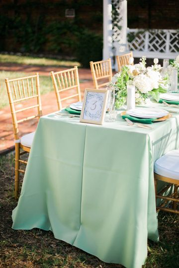 Elegant table settings are right at home in the Burgwin-Wright House Gardens.