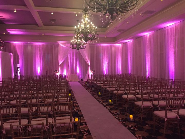 Pink ceremony lighting
