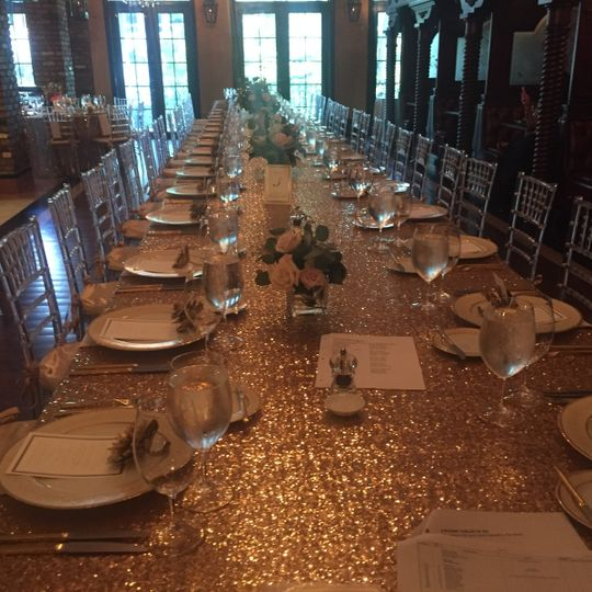 Table setup with gold details