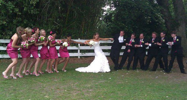 Fun shot with the bridesmaids and groomsmen