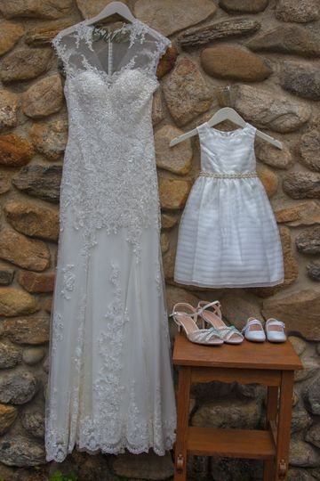 Bride and daughter's dress