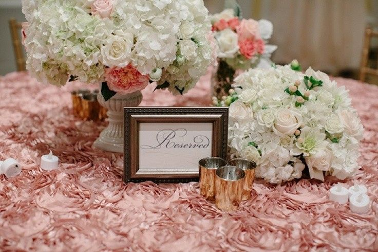 Pink table linen and floral centerpieces